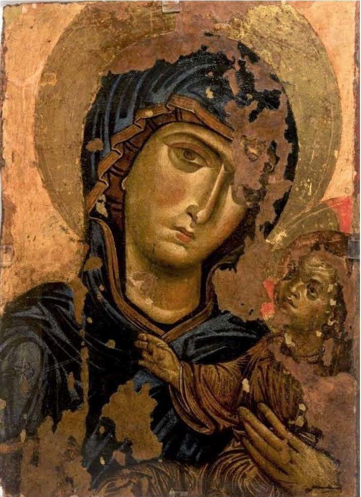 Anonimo, Madonna col bambino, icona bizantina, sec. XII, Museo Diocesano di Andria