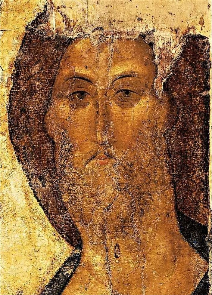 Andrej Rublëv, Cristo Salvatore,icona russa, part., sec. XV, GalleriaTret'jakov, Mosca