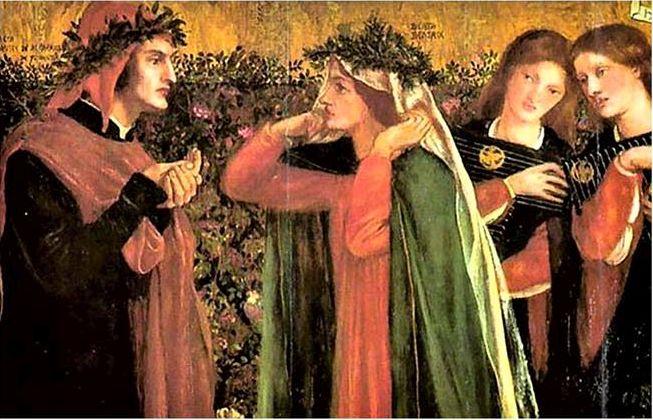 Dante Gabriel Rossetti, Il saluto di Beatrice, 1860 ca., particolare, National Gallery of Canada - Ottawa